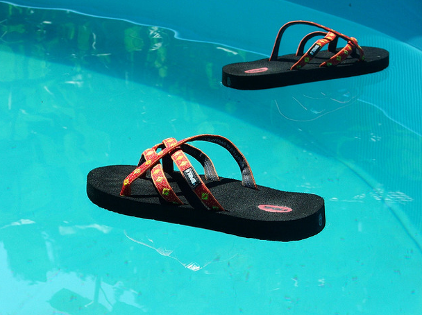 shoes in pool
