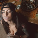 Brunette_Marijuana_Smoking_Face_Tattoos_Cleavage_Diana_Melison_420_drugs_face_smoke_women_females_girls_sexy_babes_situation_1920x1080